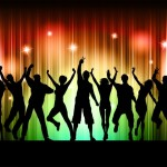 Silhouettes of people dancing on a colourful background